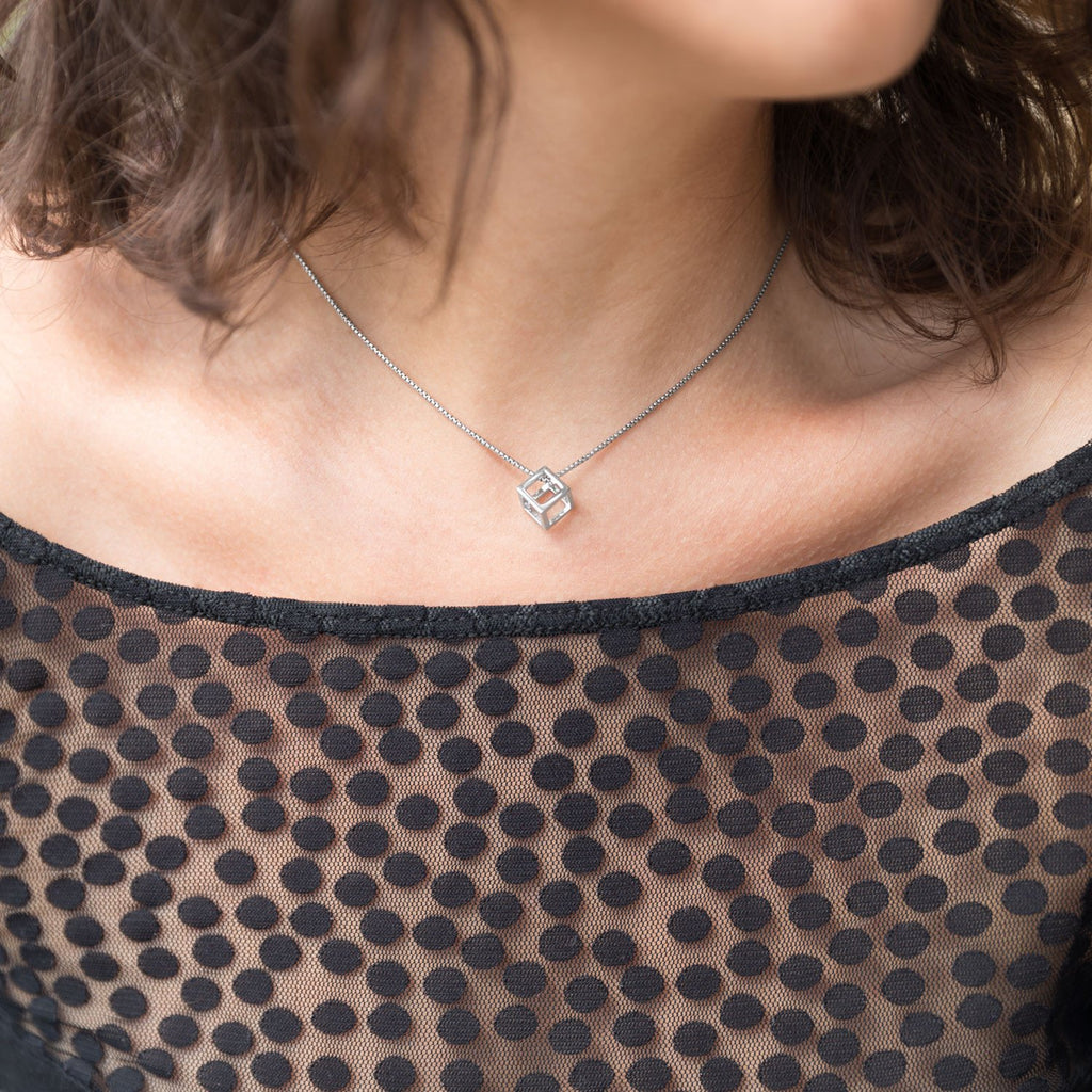 Rhodium Plated Floating Cube Pendant - Blue Tulip Boutique