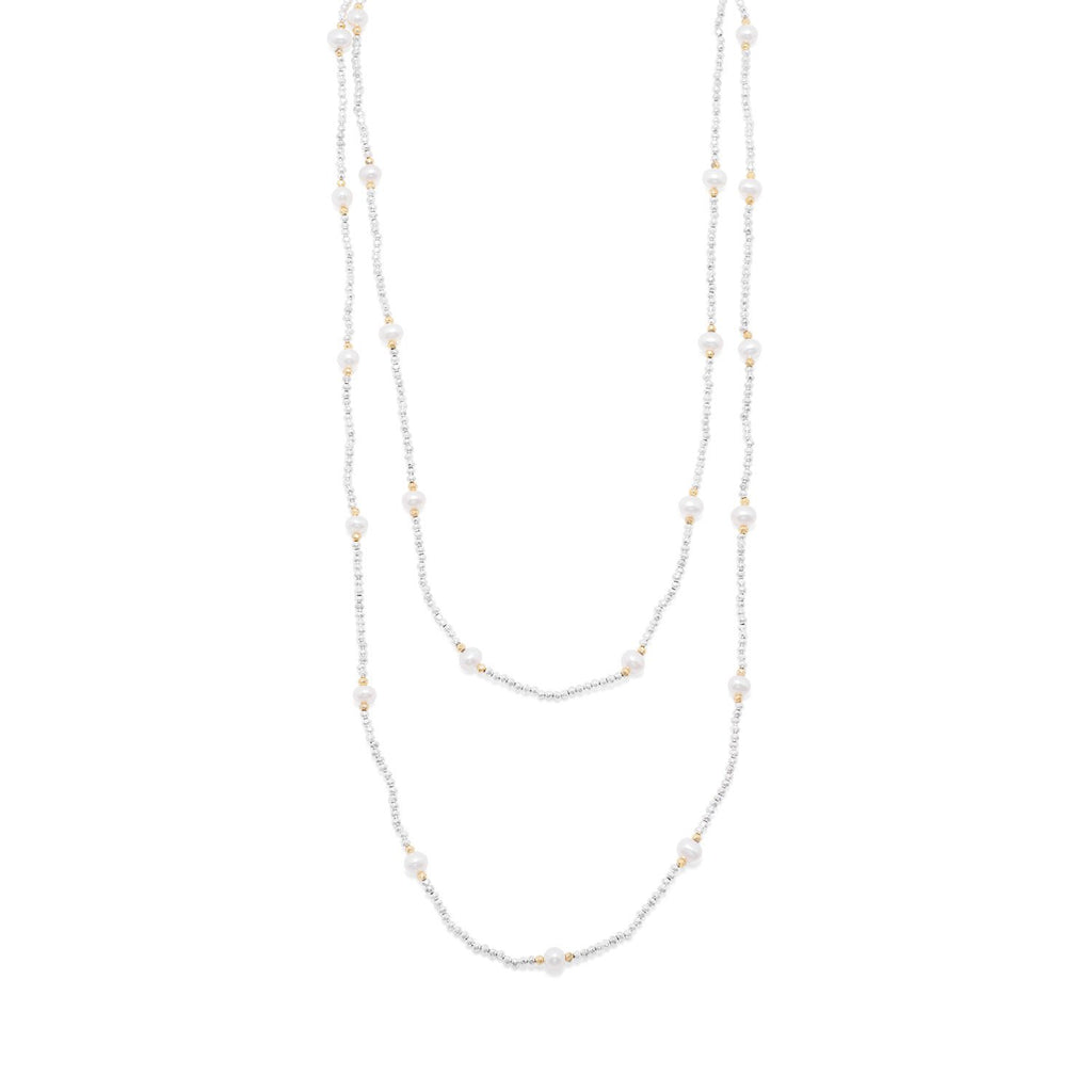 Endless Design Pyrite and Cultured Freshwater Pearl Necklace - Blue Tulip Boutique