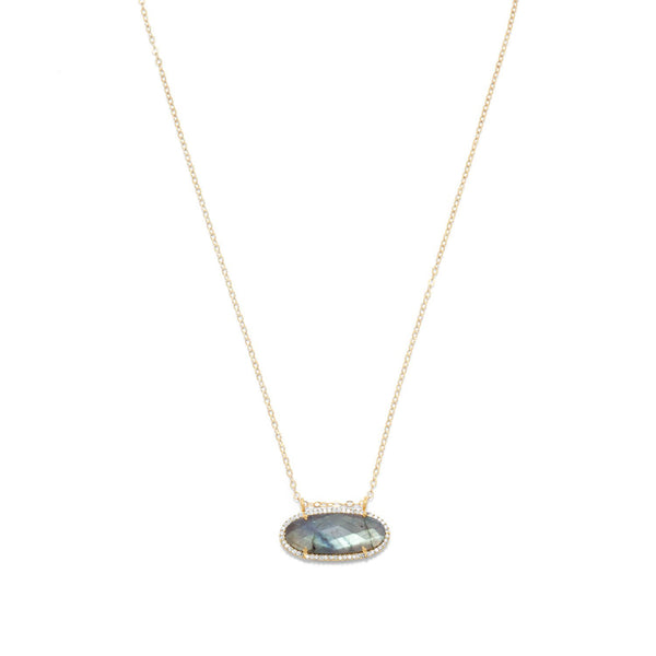 14/20 Gold Filled Labradorite Ellipse and CZ Edge Slide Necklace
