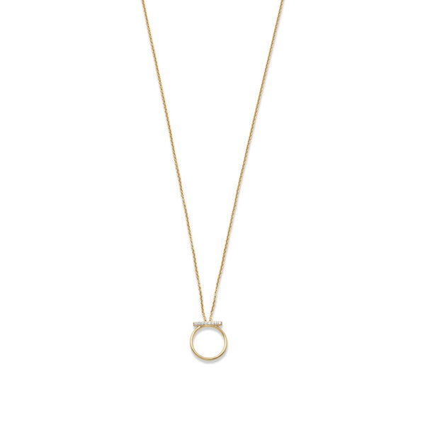 18 Karat Gold Plated CZ Bar and Circle Necklace