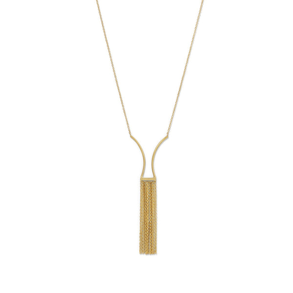 14 Karat Gold Plated Geometric and Fringe Drop Necklace
