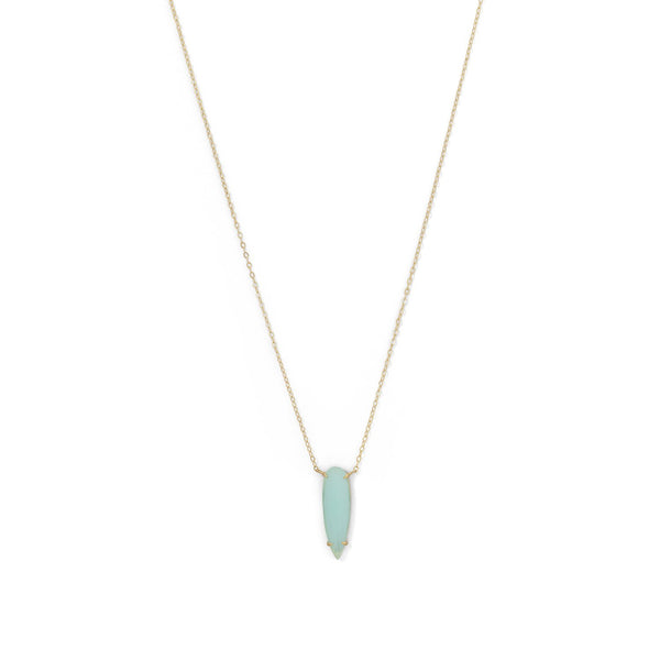 14 Karat Gold Plated Green Glass Drop Necklace