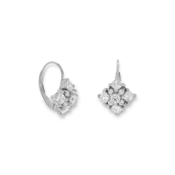 Rhodium Plated Diamond Pattern CZ Euro Earrings