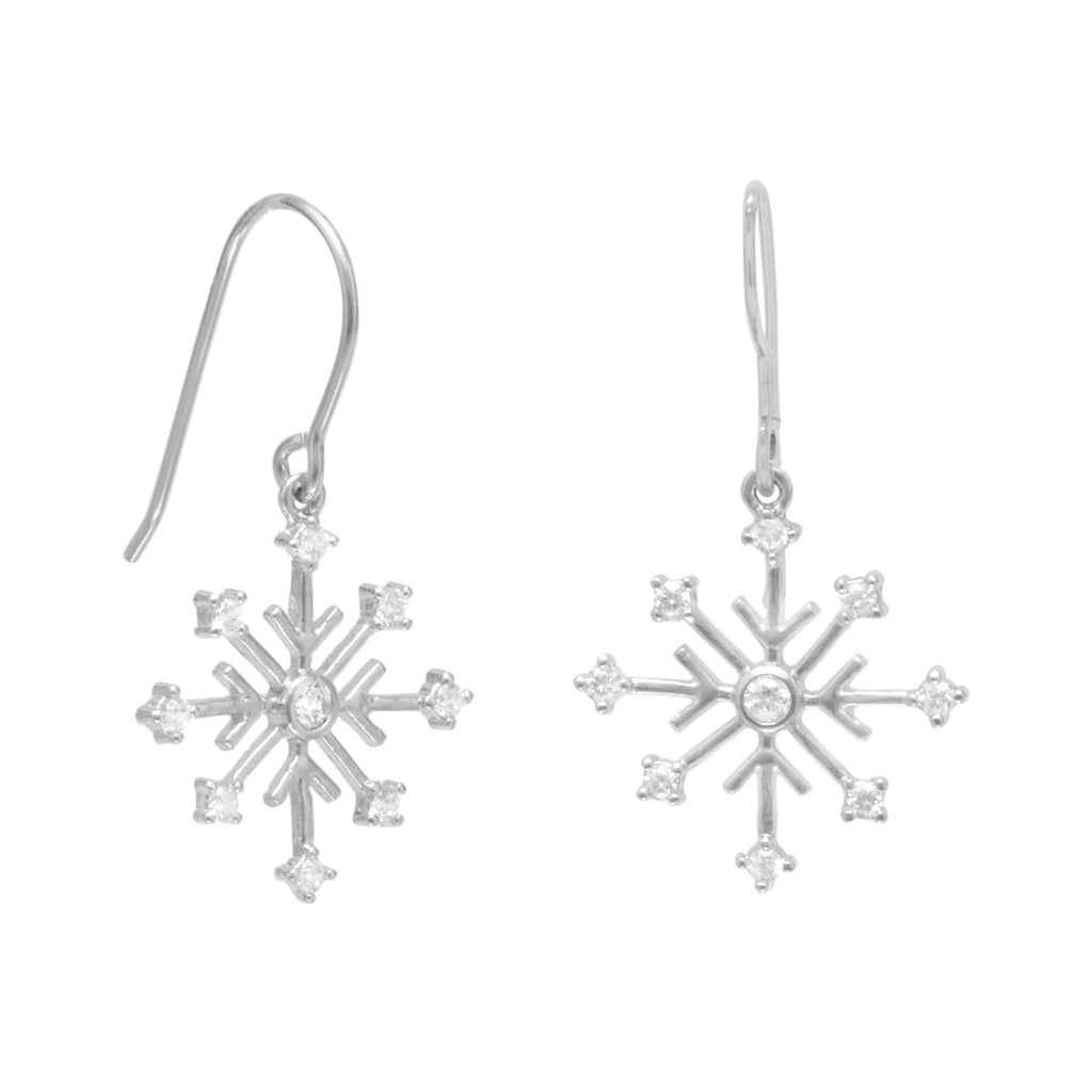 Rhodium Plated 8 Point Snowflake Earrings with 9 CZs on French Wire