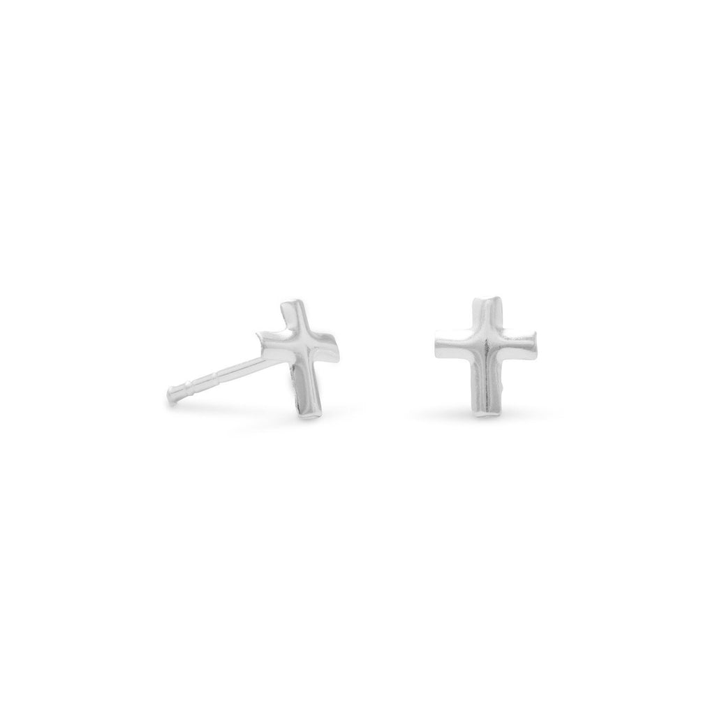 Small Polished Cross Post Earrings