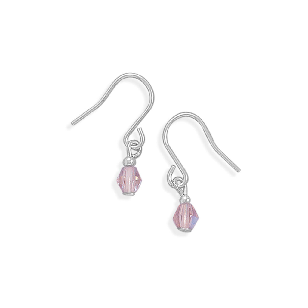 Pink Czech Glass Earrings on French Wire
