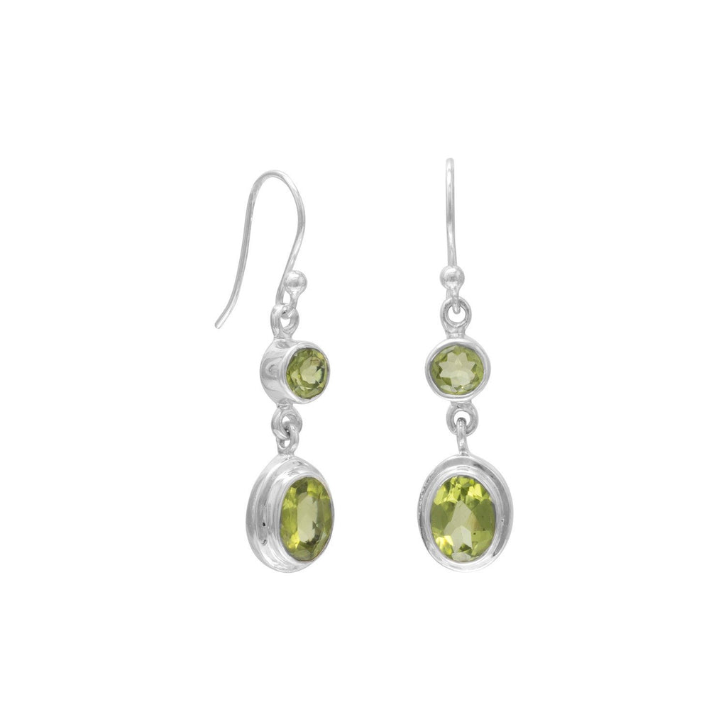 Round & Oval Peridot Polished Earrings on French Wire