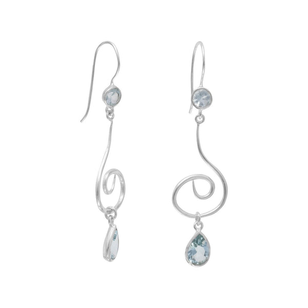 Swirl Design Earrings with Faceted Blue Topaz