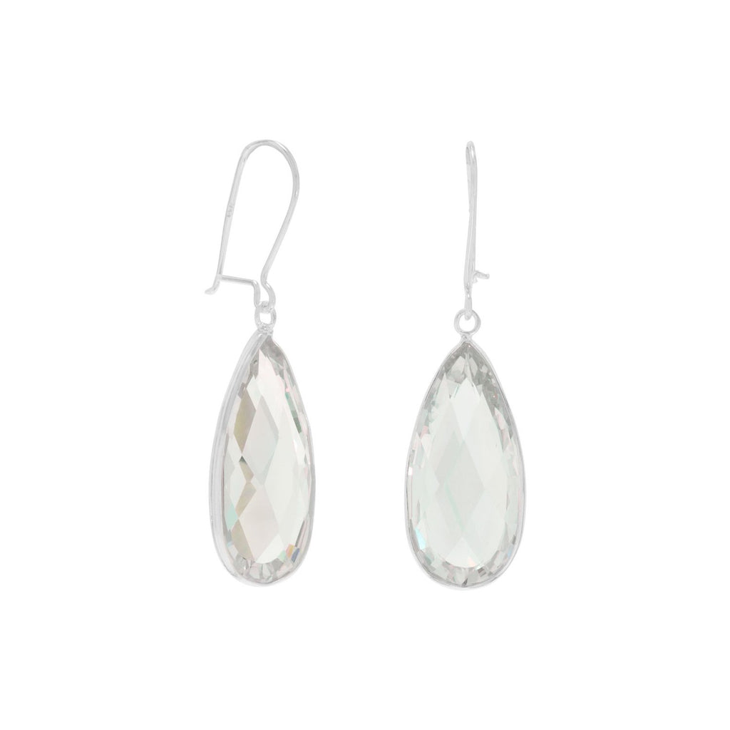 Clear CZ Drop Earrings