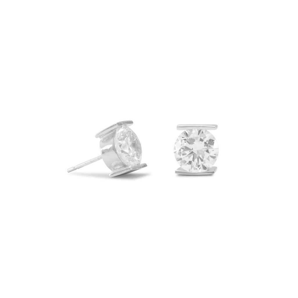 Rhodium Plated Tension Set CZ Earrings