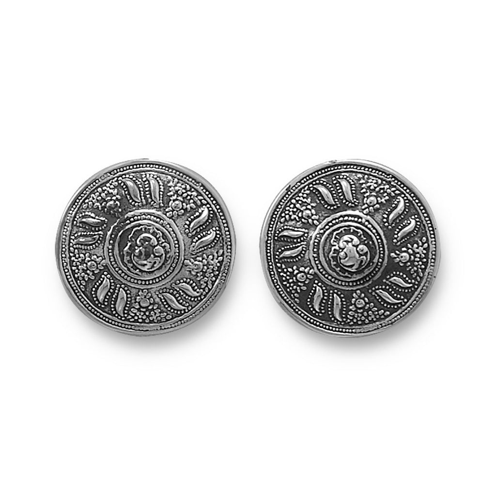 Oxidized Round Clip-On Earrings