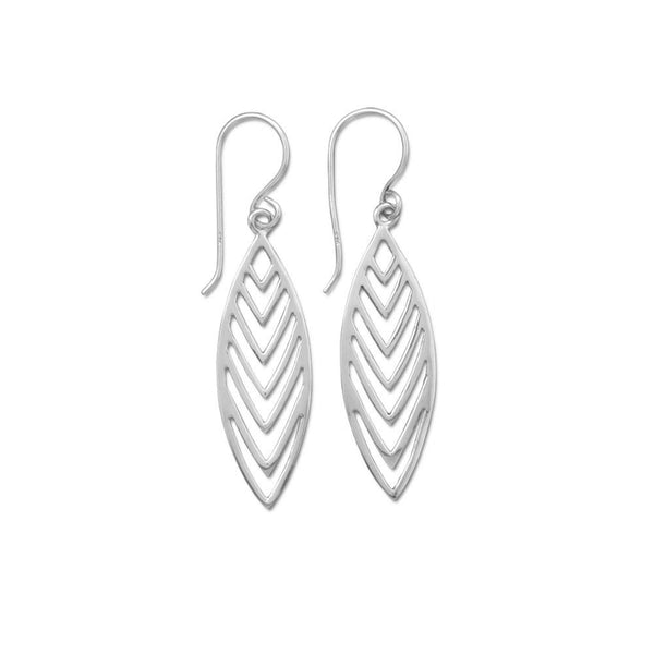 "Polished Cut Out ""V"" Design Drop Earrings"