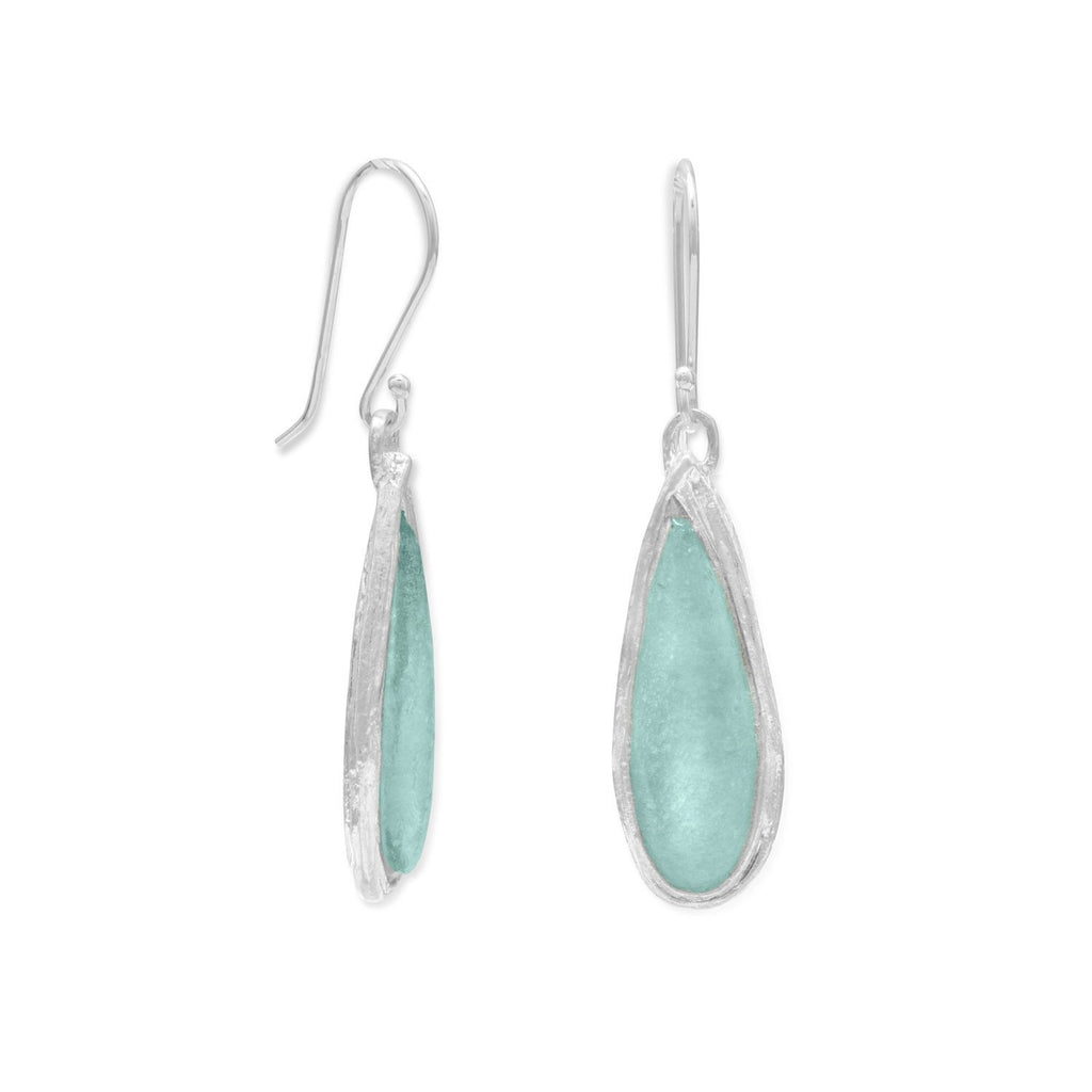 Ancient Roman Glass Pear Drop Earrings - Blue Tulip Boutique