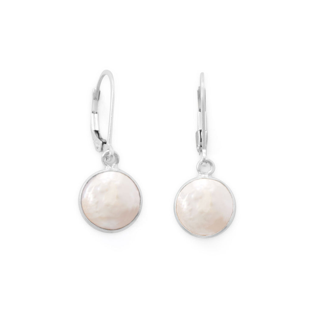 Cultured Freshwater Coin Pearl Drop Earrings