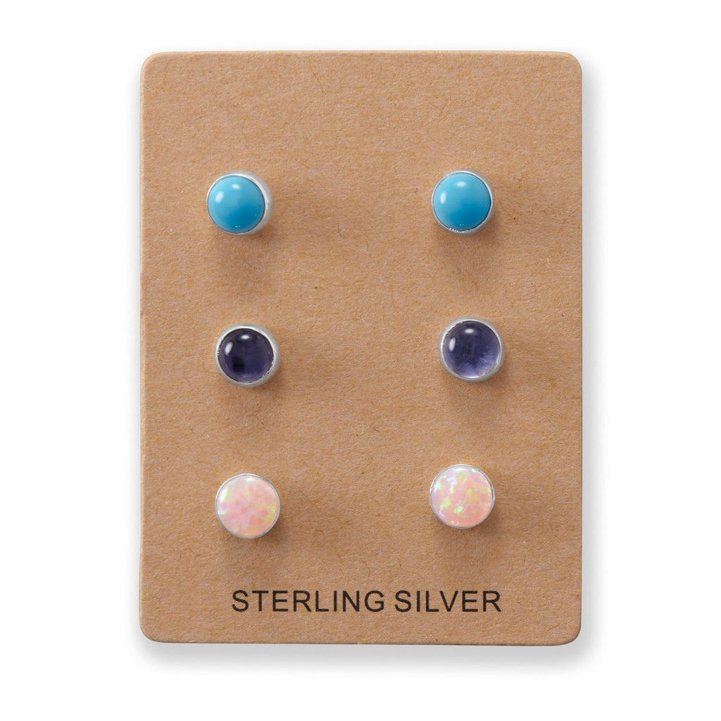 Set of 3 Synthetic Pink Opal, Reconstituted Turquoise, and Iolite Button Studs