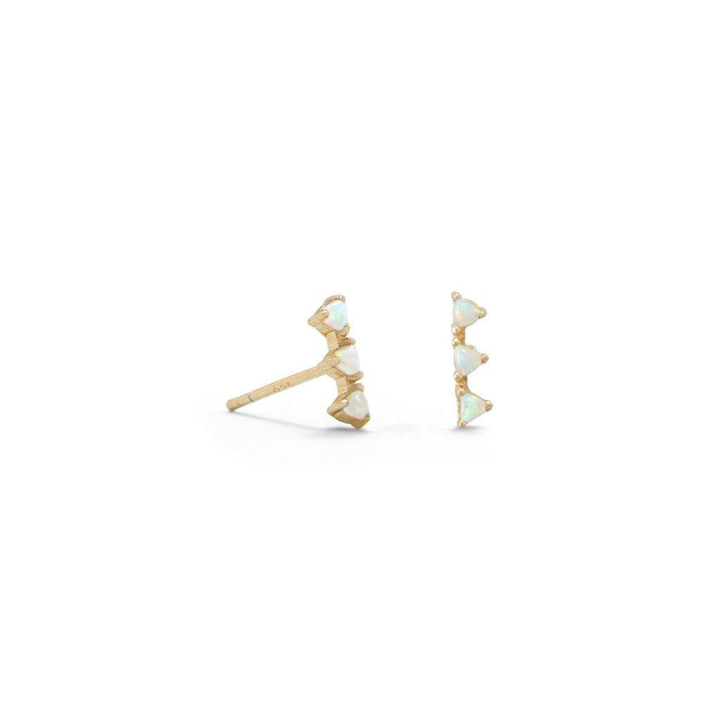14 Karat Gold Plated Mini Triangle Synthetic White Opal Studs