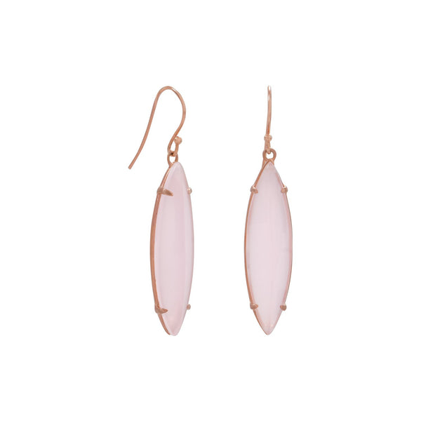 14 Karat Rose Gold Plated Pink Glass Marquise Earrings