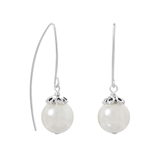 Sterling Silver Glass Pearl Wire Earrings