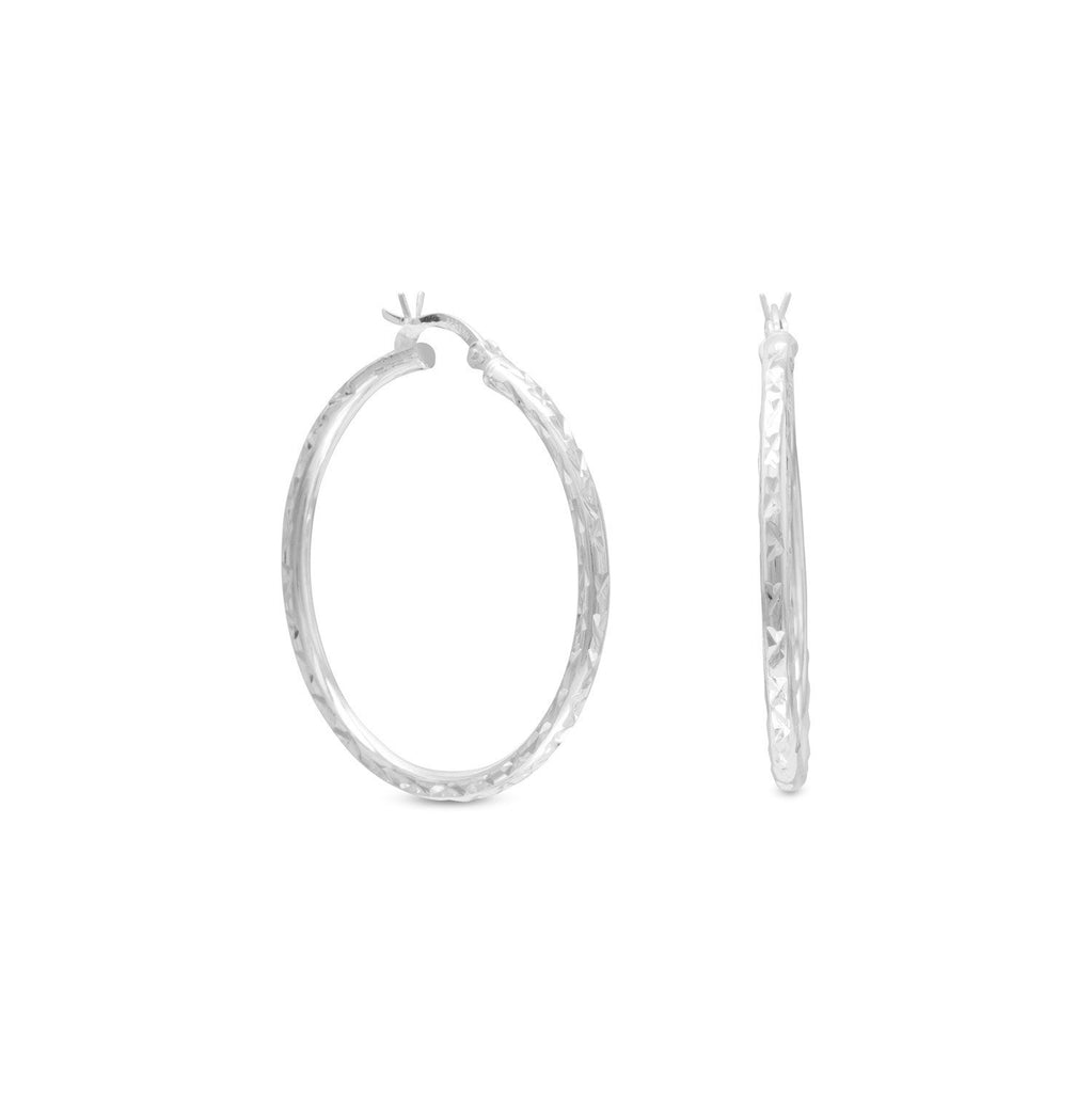 2.5mm x 35mm Diamond Cut Hoop Earrings