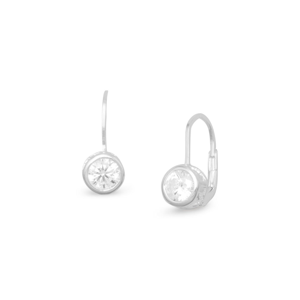 Bezel CZ Lever Earrings