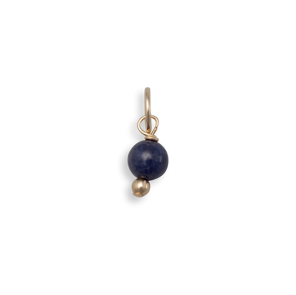 14/20 Gold Filled Corundum Bead Charm - September Birthstone