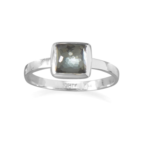 Small Square Freeform Faceted Quartz over Hematite Stackable Ring