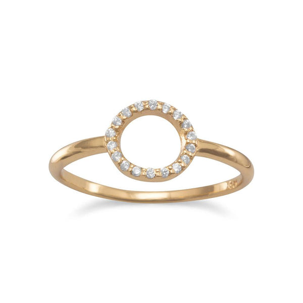 14 Karat Gold Plated Small CZ Circle Ring