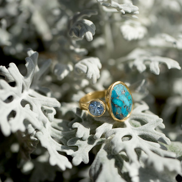 14 Karat Gold Plated Ring with Blue Topaz and Turquoise