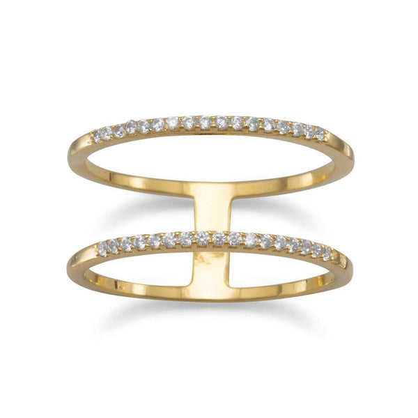18 Karat Gold Plated Double Row CZ Ring