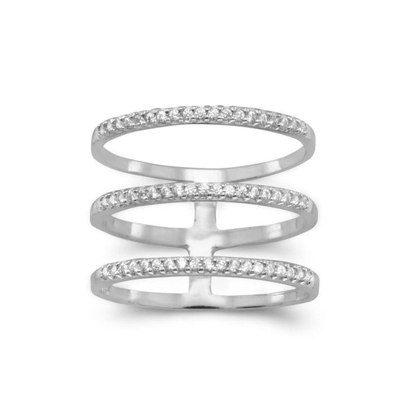 Rhodium Plated Triple Row CZ Ring