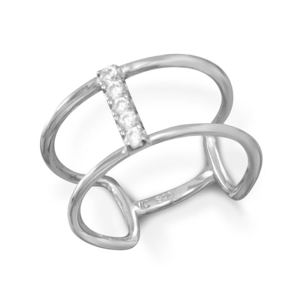 Rhodium Plated Double Row Ring with CZ Bar