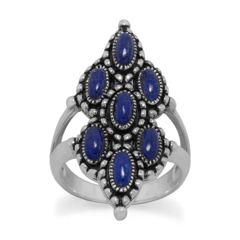 Ornate Oxidized Lapis Ring - Blue Tulip Boutique