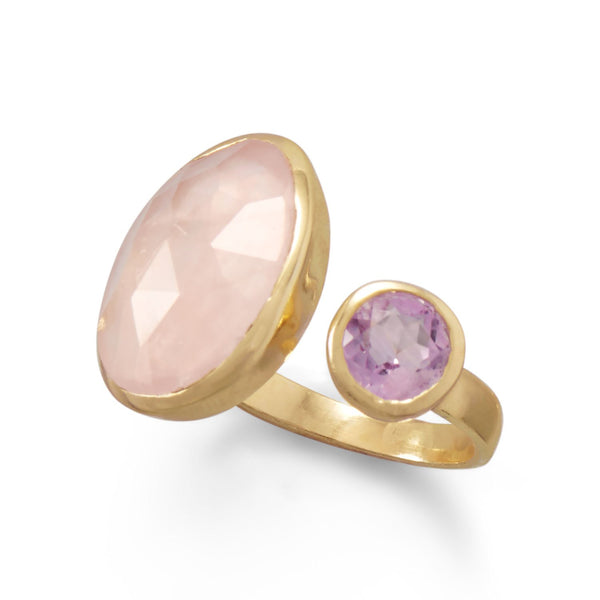 14 Karat Gold Plated Amethyst and Rose Quartz Split Ring