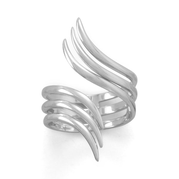 Rhodium Plated Split Wing Ring