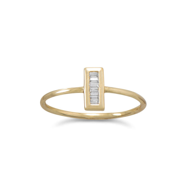 14 Karat Gold Plated Mini CZ Vertical Bar Ring