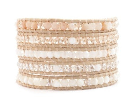 5 layer Handmade Wrap Bracelet with peach mix with clear quartz, pink jade, whIte jade - Blue Tulip Boutique