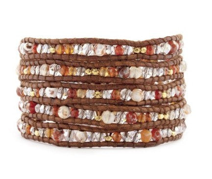 5 layer Handmade Wrap Bracelet with Red Fire Agate and Natural Carnelian Semi Precious Stones, Gold Nuggets and Silver Nugget - Blue Tulip Boutique