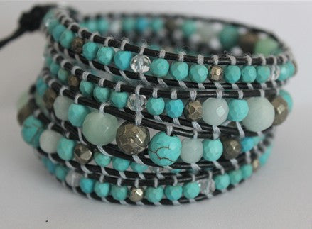 5 layer Handmade Wrap Bracelet with Natural Turquoise, amazonite, pyrites and clear quartz - Blue Tulip Boutique