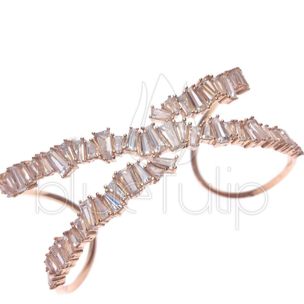 "Rose Gold Plated ""X"" Baguette Crystal Cuff Bracelet - Blue Tulip Boutique"