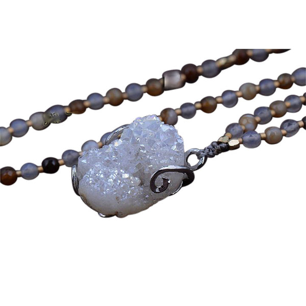 Handmade Agate Beaded Quartz Druzy Necklace - Blue Tulip Boutique