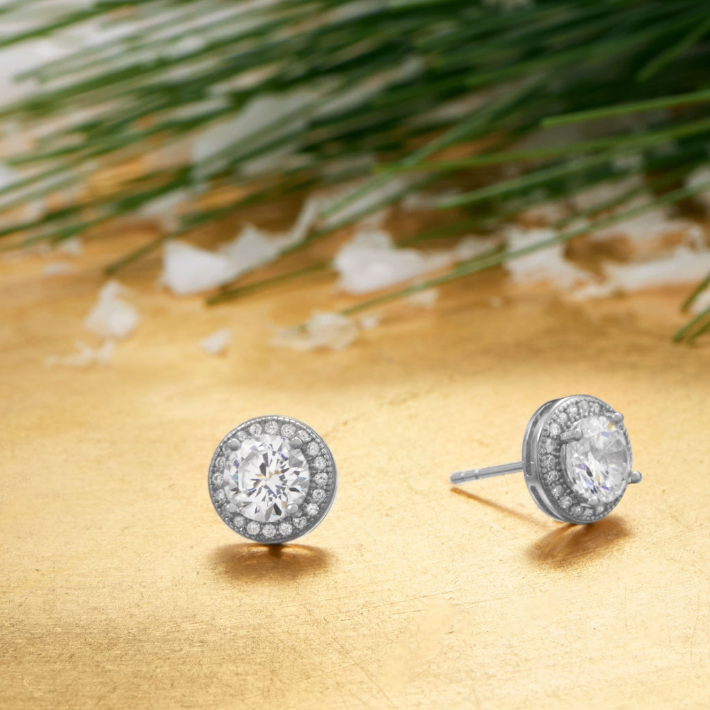 Rhodium Plated Elegant 6.5mm CZ Studs - Blue Tulip Boutique