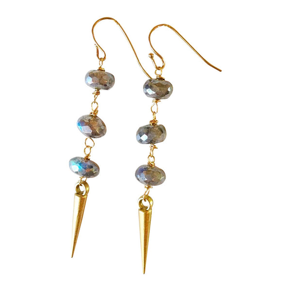 Handmade Mystic Grey Labradorite and Gold Spike Dangle Earrings - Blue Tulip Boutique