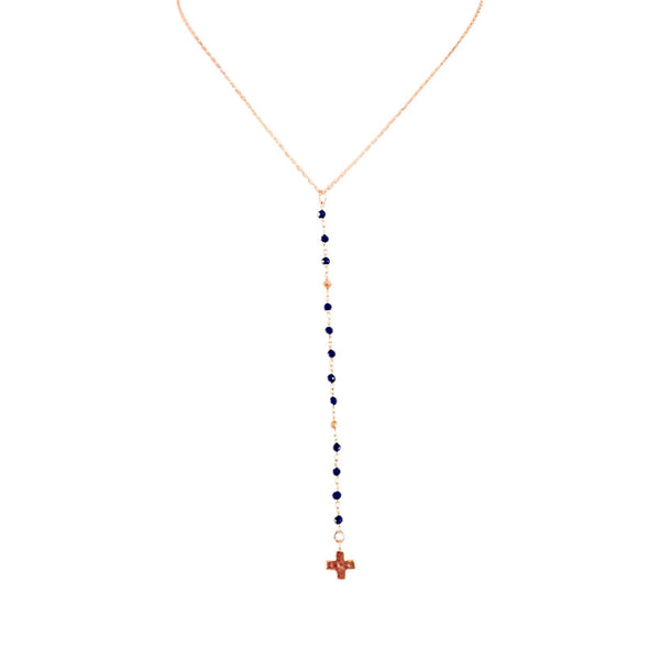 Handmade Jennifer Aniston Inspired Black Spinel and Gold Lariat with Cross Necklace - Blue Tulip Boutique