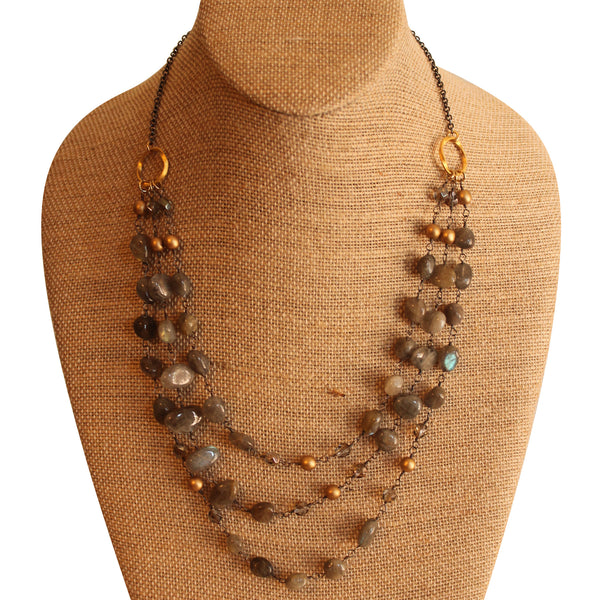 Absolutely Stunning Handmade Layered Labradorite Necklace - Blue Tulip Boutique