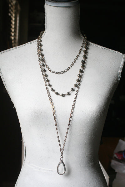 Triple Strand Brass, Pyrite & Handmade Cut Crystal Necklace - Blue Tulip Boutique