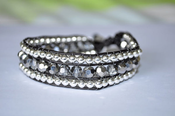 The Tami Bracelet: Handmade Silver Bead and Crystal Single Leather Wrap Bracelet - Blue Tulip Boutique