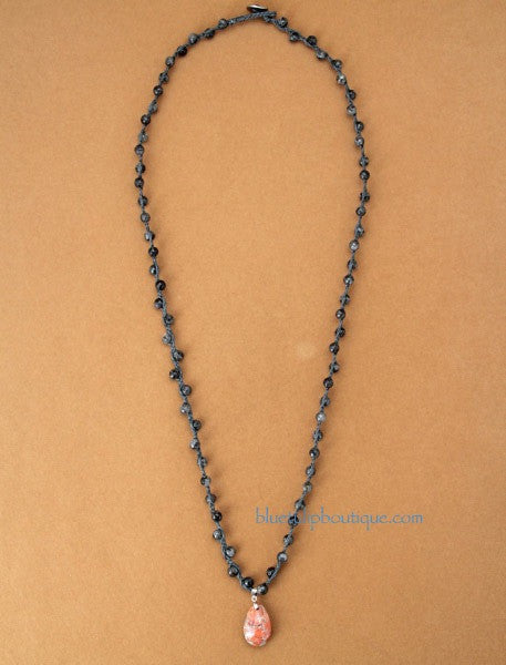 Handmade Knotted Necklace with Labradorite Stones and Jasper Pendant - Blue Tulip Boutique