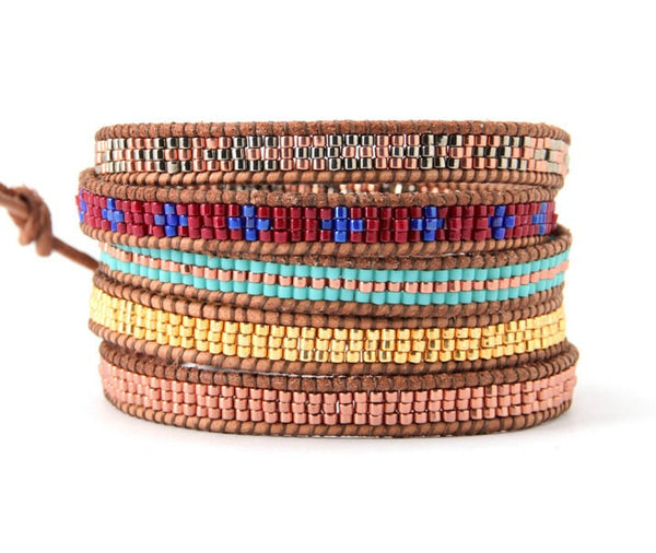 Handmade Seed Bead Multi Color Leather Wrap Bracelet - Blue Tulip Boutique