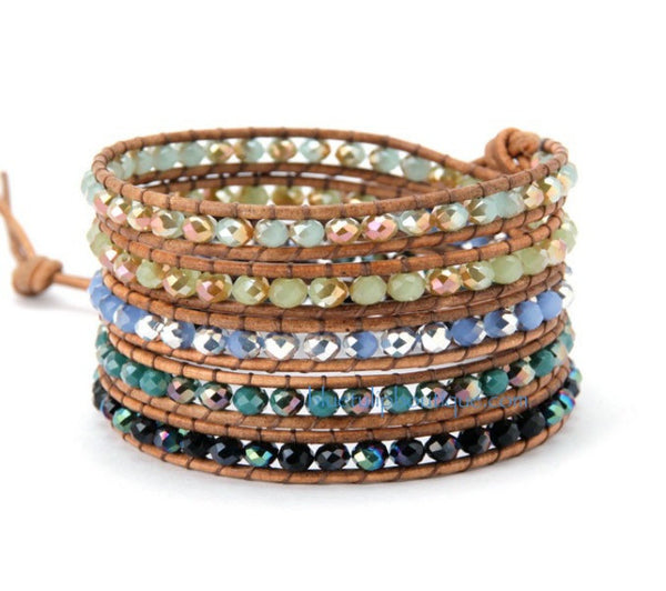 Mixed Iridescent Crystal Beaded Handmade Leather Wrap Bracelet - Blue Tulip Boutique