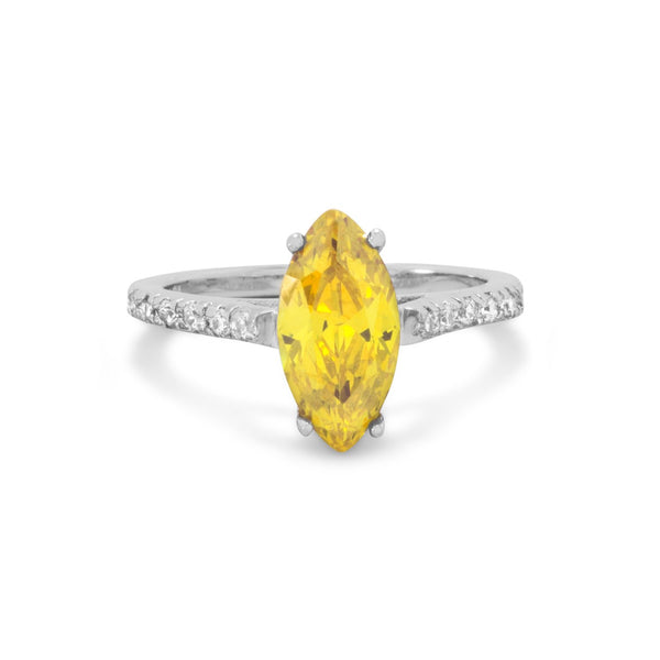 Rhodium Plated Yellow Marquise CZ Ring